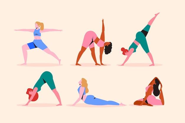 Pessoas que fazem o conceito de ilustração de ioga