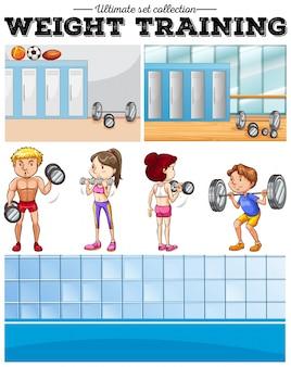 Pessoas que fazem treinamento com pesos e ilustração do vestiário