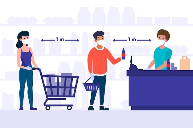 Pessoas que ficam em uma fila no supermercado, mantendo distância