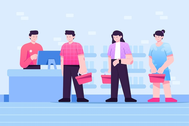 Pessoas que ficam em uma fila no supermercado