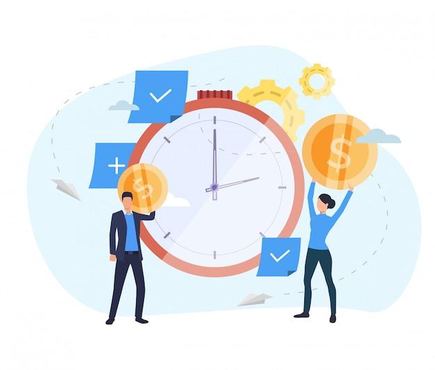 Pessoas que investem dinheiro na página de destino do relógio