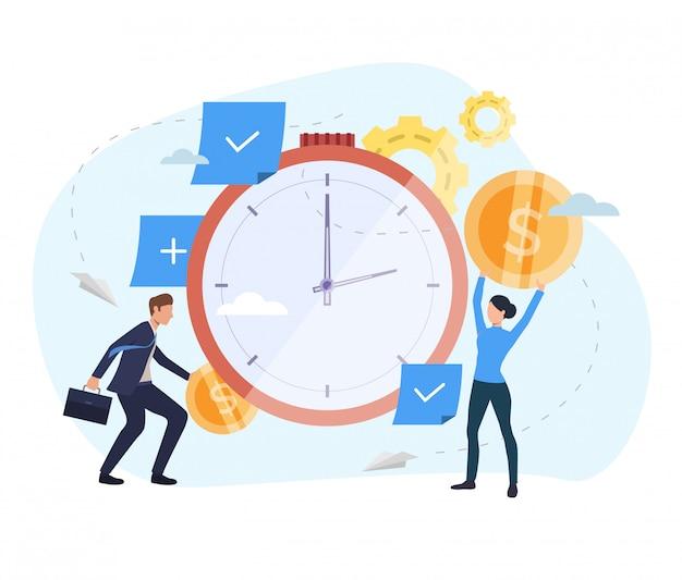 Pessoas que investem dinheiro na página de exibição do relógio