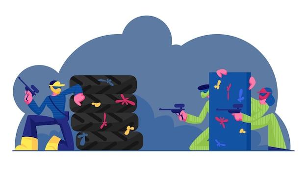 Pessoas que jogam a batalha de paintball. esconda-se atrás da barreira durante o jogo esportivo ilustração plana dos desenhos animados