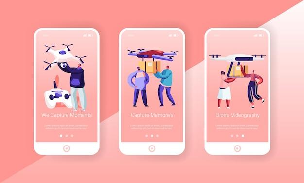 Pessoas que jogam e usam drones conjunto de tela a bordo da página do aplicativo móvel
