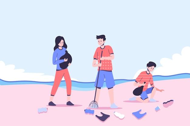 Pessoas que limpam ilustração de praia