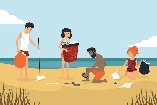 Pessoas que limpam o conceito de praia