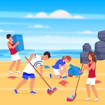 Pessoas que limpam o estilo de praia