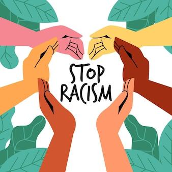 Pessoas que participam do movimento de parar o racismo ilustradas