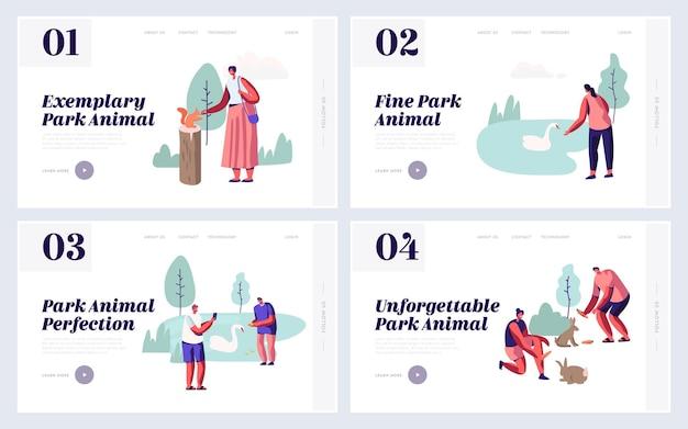 Pessoas que passam tempo no conjunto de páginas de destino do site animal park. lazer no zoológico ao ar livre com animais selvagens, alimentação, brincar, tirar fotos, página da web do sparetime. ilustração em vetor plana dos desenhos animados