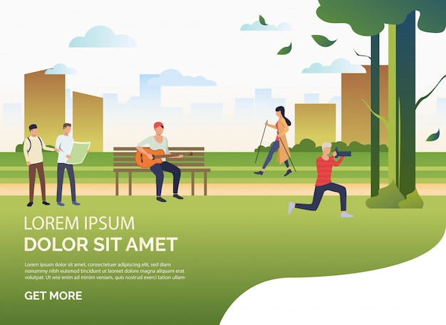 Pessoas que praticam esportes e relaxar no parque da cidade, texto de exemplo