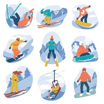 Pessoas que praticam esqui e snowboard, estilo de vida ativo e esportes radicais de inverno