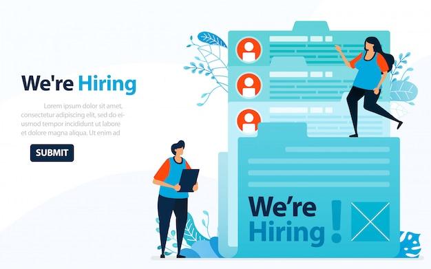 Pessoas que procuram funcionários com palavras que estamos contratando, ilustração do conceito.