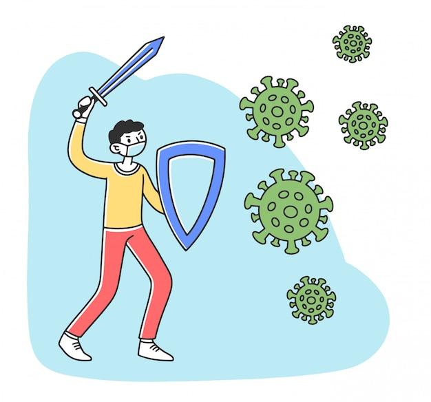 Pessoas que protegem do coronavírus