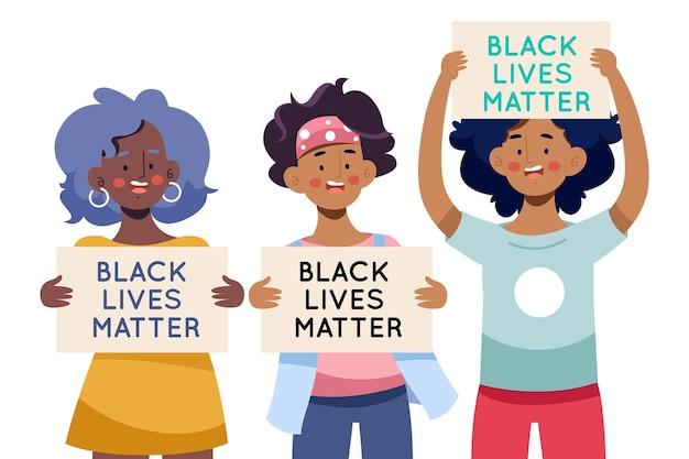 Pessoas que protestam contra a discriminação de negros