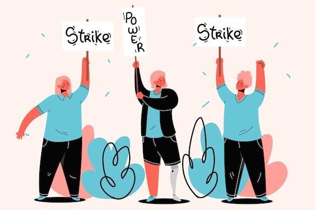 Pessoas que protestam contra greve e protegem