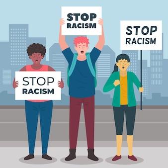 Pessoas que protestam contra o racismo