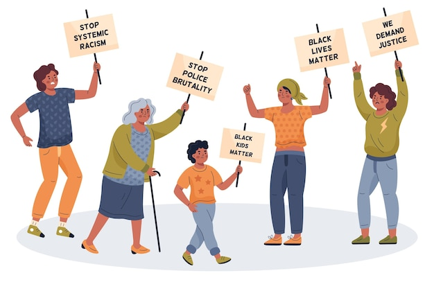 Pessoas que protestam em vidas negras importam movimento