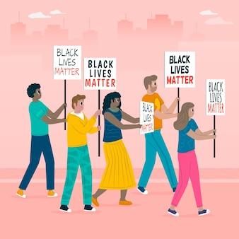 Pessoas que protestam juntas contra o racismo