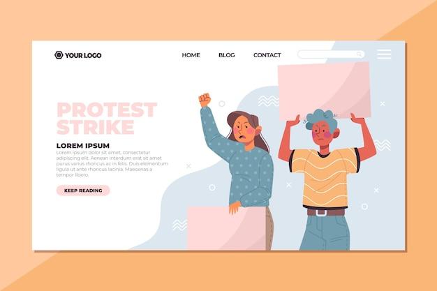 Pessoas que protestavam com cartazes na página de destino
