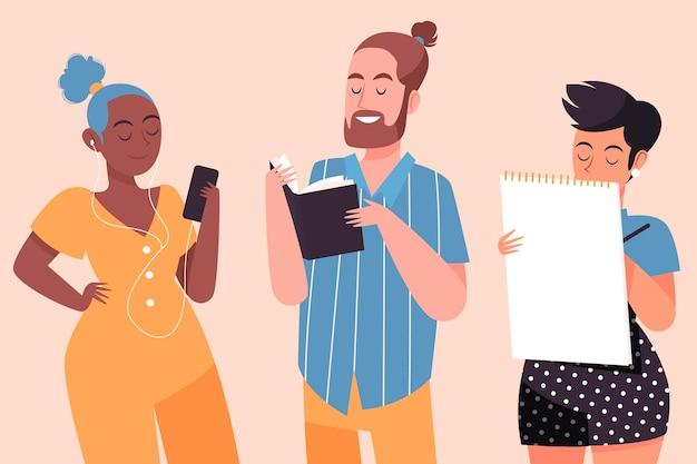 Pessoas que realizam atividades culturais ilustradas