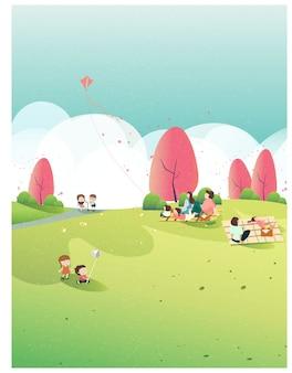 Pessoas que relaxam na natureza em tempo de primavera no parque. cartaz da primavera. passeio em família para o parque ou piquenique. criança joga pipa, borboleta e flor de maçã. pessoas na primavera.