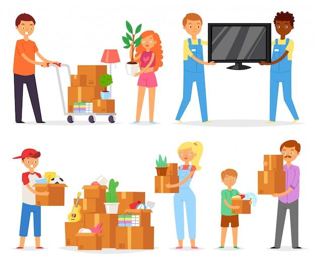 Pessoas que se deslocam família com filhos, caixas ou pacotes de embalagem para passar para o novo conjunto de ilustração de apartamento de caracteres de homem e mulher, caixa de embalagem em casa no fundo branco