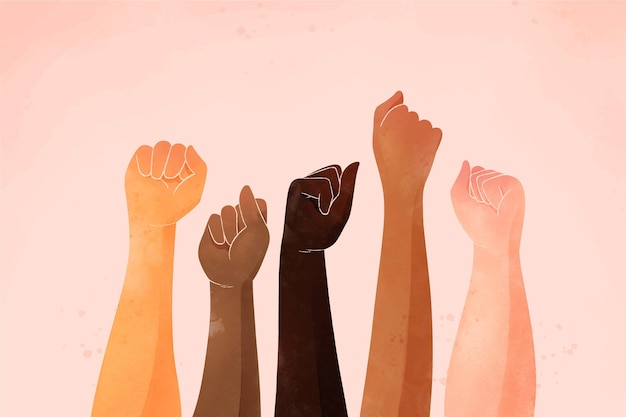 Pessoas que se juntam ao movimento de parar o racismo