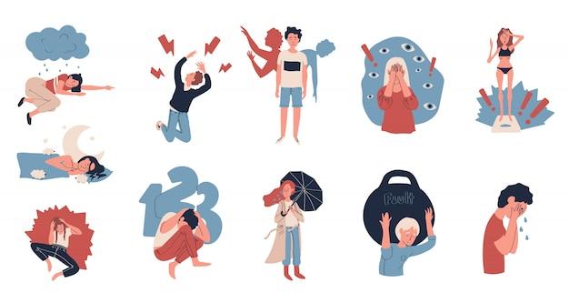 Pessoas que sofrem de depressão e estresse, ilustração