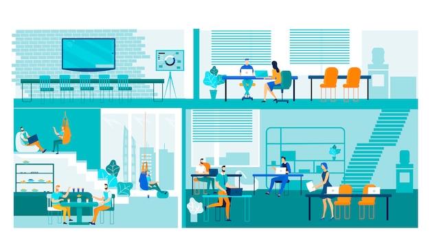 Pessoas que trabalham com gadgets na área de coworking.