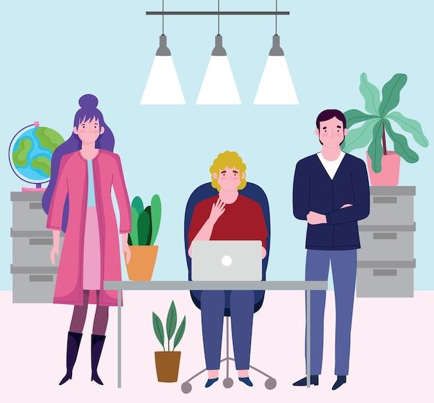 Pessoas que trabalham com ilustração de plantas e gabinete de mesa de escritório laptop
