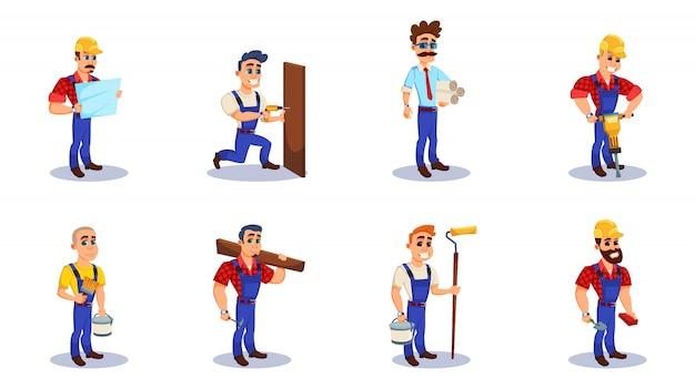 Pessoas que trabalham como engenheiro, construtor e reparador.