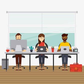 Pessoas que trabalham design, ilustração gráfica do vetor eps10