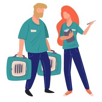 Pessoas que trabalham em abrigos de animais cuidando de animais de estimação, homens e mulheres isolados carregando contêineres em gaiolas para transporte