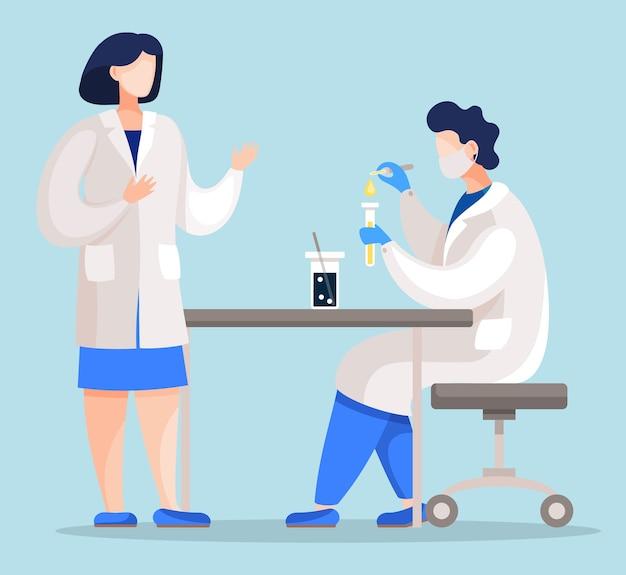 Pessoas que trabalham em laboratório médico, misturando substâncias e aquecendo líquidos químicos.