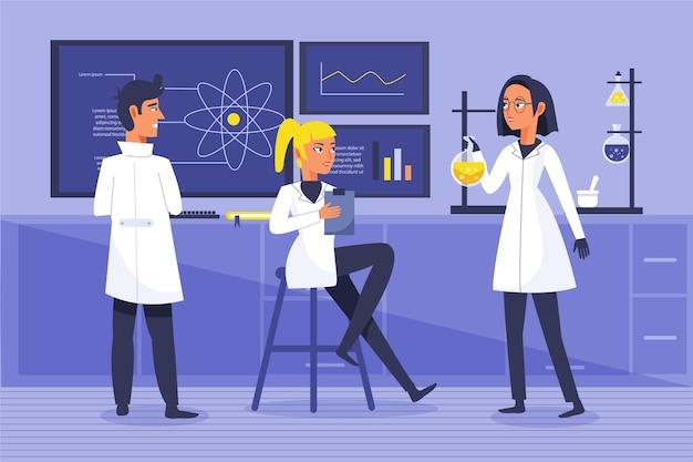 Pessoas que trabalham em um conceito de laboratório de ciências
