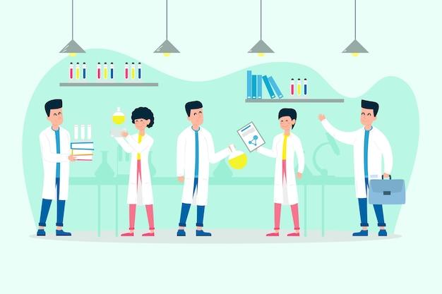 Pessoas que trabalham em um laboratório de ciências