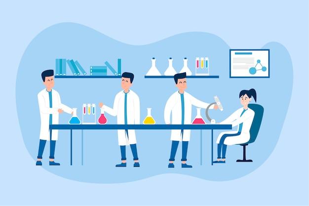 Pessoas que trabalham em uma ilustração de laboratório de ciências