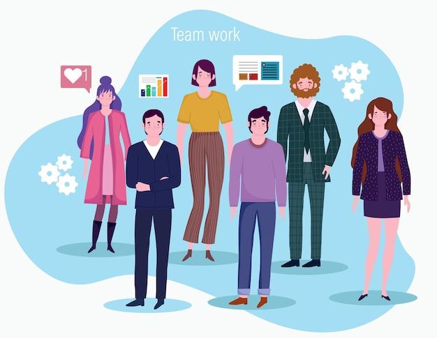 Pessoas que trabalham, homens e mulheres de negócios, fazem um gráfico da ilustração da rede financeira