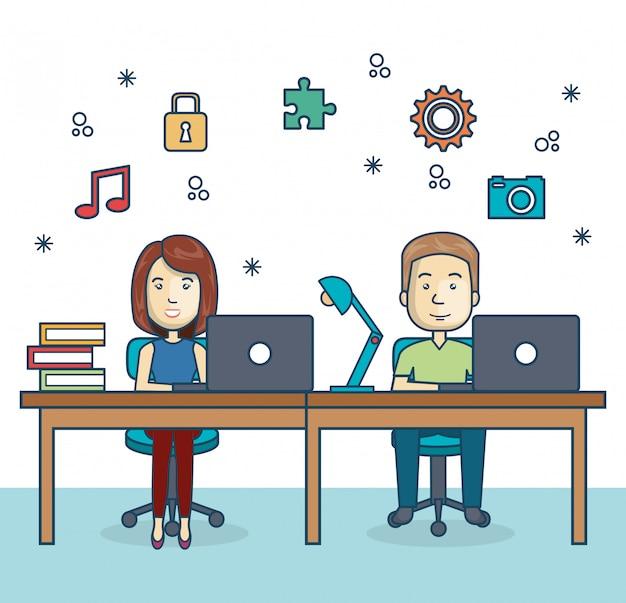 Pessoas que trabalham ícone do escritório
