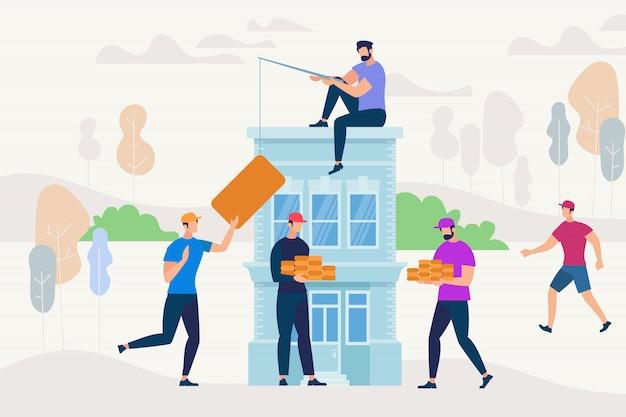 Pessoas que trabalham juntos para construir nova casa.