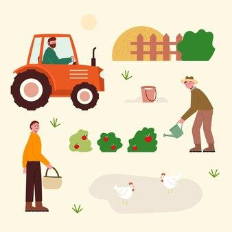 Pessoas que trabalham na fazenda orgânica à luz do dia