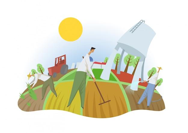 Pessoas que trabalham no campo, vista de olho de peixe. agricultura, ecoturismo, kibutz. ilustração em vetor plana colorida.