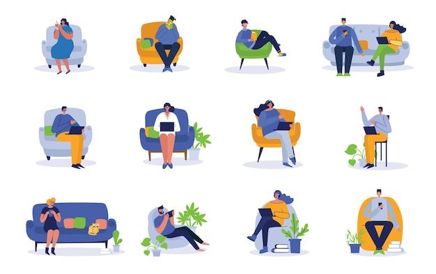 Pessoas que trabalham no computador, em casa e em ícones planos isolados