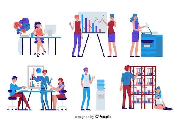 Pessoas que trabalham no design plano de escritório