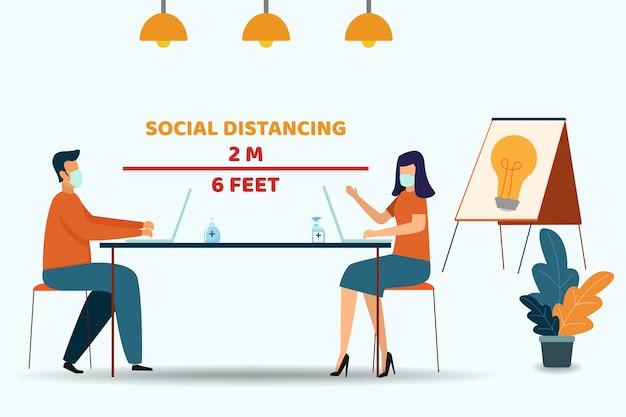 Pessoas que trabalham no escritório e mantém o social distanciamento. cuidados médicos e médicos sobre prevenção de infecções.