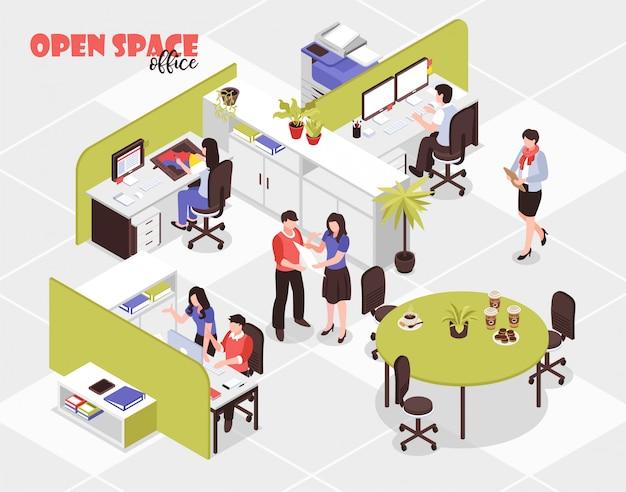 Pessoas que trabalham no grande escritório de reposição aberto na agência de publicidade 3d isométrica