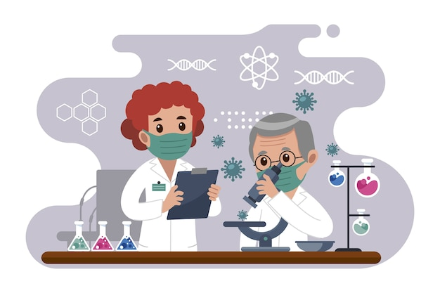 Pessoas que trabalham no laboratório de ciências
