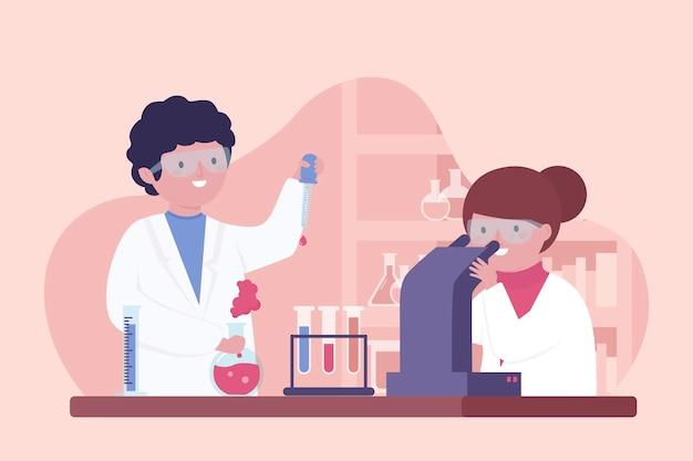 Pessoas que trabalham no laboratório