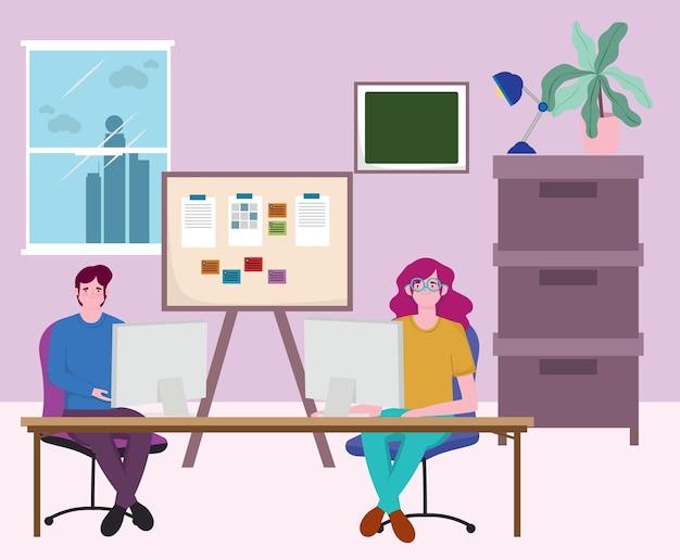 Pessoas que trabalham usando computador e reunião de apresentação do quadro na ilustração do escritório
