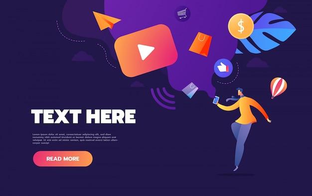 Pessoas que transmitem vídeo on-line com seu laptop, conceito de smartphone, página de destino de streaming de vídeo tutorial on-line,